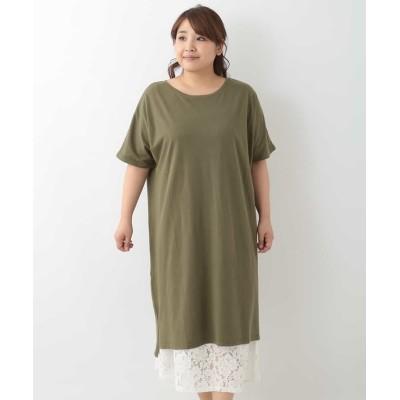 (eur3/エウルキューブ)【大きいサイズ】デザインインナー付きTシャツワンピース/レディース カーキ