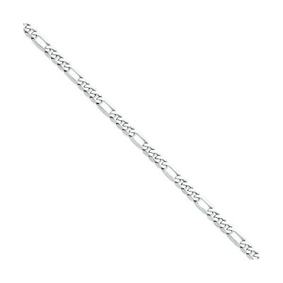 "14K White Gold 6mm Flat Figaro Chain Anklet Jewelry 9""並行輸入品 送料無料"
