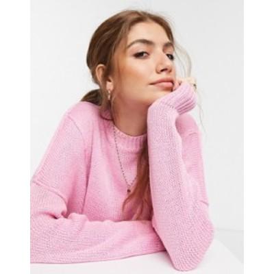 エイソス レディース ニット・セーター アウター ASOS DESIGN boxy sweater with crew neck in pink Pink
