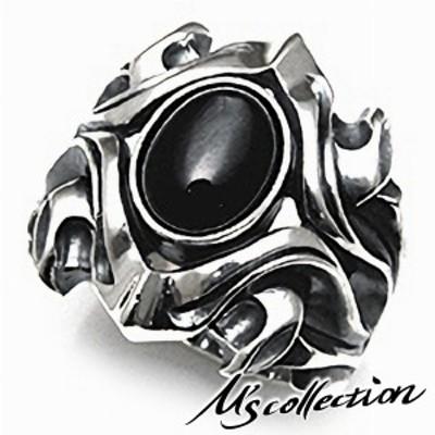エムズコレクション シルバー925 ダイオプサイト ストーン リング シルバー メンズ ジュエリー 重厚感 ゴツイ 人気 プレゼント 指輪 msコ