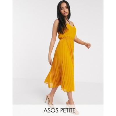 エイソス ASOS Petite レディース ワンピース キャミワンピ ASOS DESIGN Petite pleated cami midi dress with drawstring waist in mustard マスタード