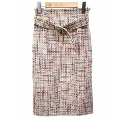 【中古】未使用品 ミラオーウェン Mila Owen ロング スカート ツイード 台形 ジップ ベルト付き ウール混 0 S