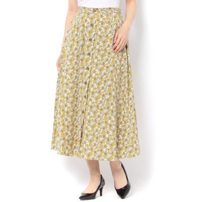 【テチチ/Te chichi】 レトロ花柄前ボタンロングスカート