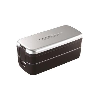 アスベル 4974908362484 弁当箱 2段 640ml ランタスFL ランチボックス (箸・バッグ付) シルバー