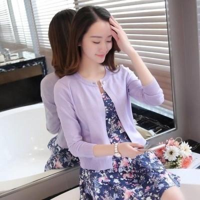 カーディガン レディース 女性 春 秋 長袖 女性 ニットカーディガン ラベンダー パープル Mサイズ