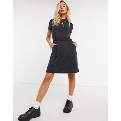 オブジェクト レディース ワンピース トップス Object Maxwell core slinky mini dress in black
