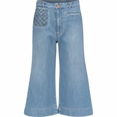 クロエ See By Chloe レディース ジーンズ・デニム クロップド ボトムス・パンツ High-rise flared cropped jeans Shady Cobalt