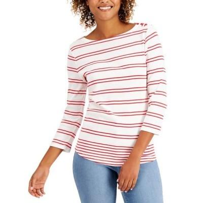 チャータークラブ カットソー トップス レディース Petite Cotton Striped Top,  Bright White Combo