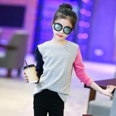 秋服 女の子 トップス キッズ 女児 ファッション お洒落 ラウンドネック ボトミングシャツ カジュアル Tシャツ お出かけ 普段着 オシャレ 120-160cm