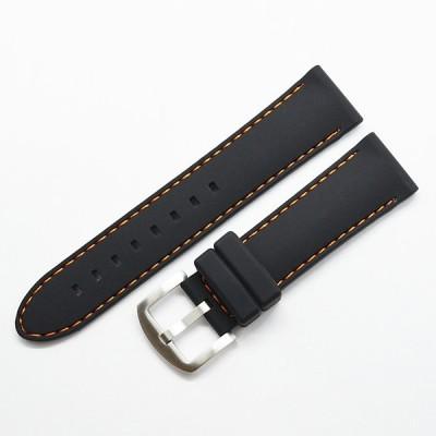 時計ベルト 黒 18mm/20mm/22mm オレンジステッチ シリコンラバー 時計バンド 腕時計ベルト 時計 ベルト ダイビング