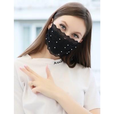 マスク洗える 真珠マスク 布マスク レース ペイズリー 上品チュール クールマスク 【レース+真珠】 大人気 レース生地 冷感素材 ひんやり冷感 レースマスク 吸水速乾