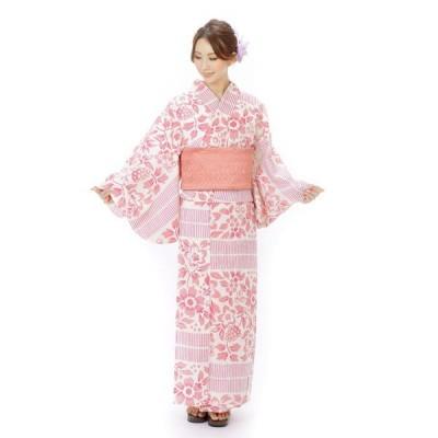 浴衣 レディース そしてゆめ浴衣+そしてゆめ半巾帯+下駄 3点セット ピンク