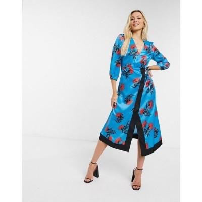 リカリッシュ Liquorish レディース ワンピース ラップドレス ワンピース・ドレス Midi Wrap Dress In Blue Floral Print ブルーフローラル