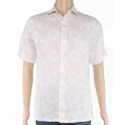 ファッション アウター Tasso Elba Mens Shirt Beige Size 2XL Medallion Short Sleeve Button Up