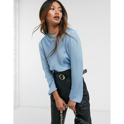 エイソス レディース シャツ トップス ASOS DESIGN long sleeve satin top with shoulder pads in powder blue