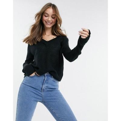 ブレーブソウル レディース ニット&セーター アウター Brave Soul max v neck sweater in black Black