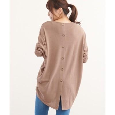 tシャツ Tシャツ バックスリット飾りボタン長袖ドルマンカットソー