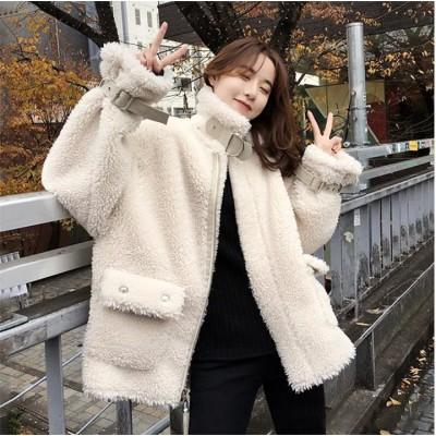Qoo10だけの大特価💗 冬 コート 女性 新品 韓国 ゆったりする 短いスタイル ムートンコート 暖かい 厚手  スリムフィット