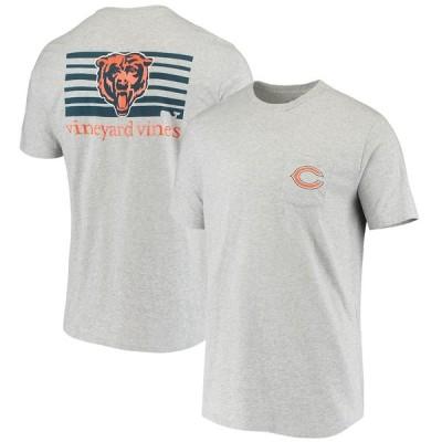 ヴァインヤードヴァインズ メンズ Tシャツ トップス Chicago Bears Vineyard Vines Block Stripe T-Shirt ? Heathered Gray