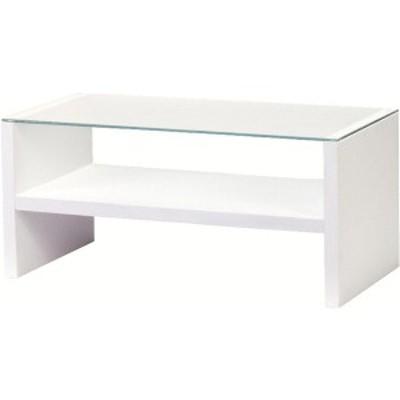 リビングテーブル 強化ガラス製(ガラス天板) 棚収納付き HAB-621WH ホワイト(白) 〔送料無料〕