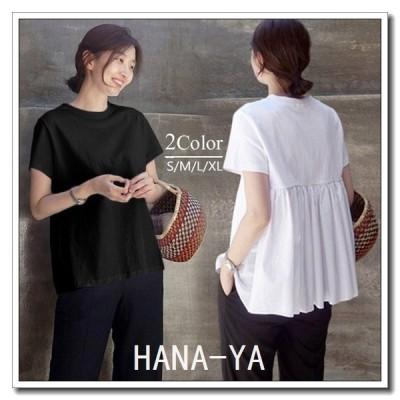 Tシャツ レディース 40代 春夏 オシャレブラウス 韓国風 チュニック 半袖Tシャツ 綿 白トップス ゆったり 通勤 体型カバー 上品 カジュアル 4色