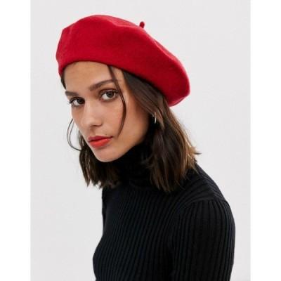 エイソス レディース 帽子 アクセサリー ASOS DESIGN wool beret Red