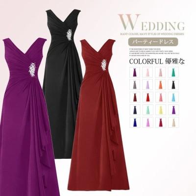 カラードレス 演奏会 ロングドレス 20カラー パーティードレス イブニングドレス 編み上げ 無地 イベント 結婚式 袖なし 大きいサイズ フォーマル