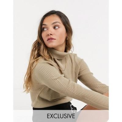コリュージョン レディース ニット&セーター アウター COLLUSION ribbed rollneck sweater in ecru Ecru