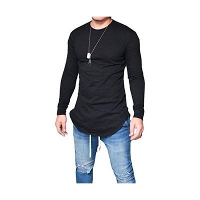 ONE LIMITATION(ワン リミテーション) 長袖 カットソー Tシャツ おしゃれ ロング丈 ロンT 無地 メンズ TSL008 (02 ブラ