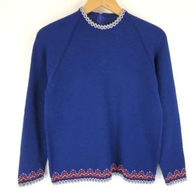 【古着】 チロルセーター ジャガード 飾り編み ヴィンテージ ブルー系 レディースM 【中古】 n013844