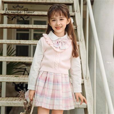 韓国こども服 フォーマル シャツ ブラウス スカート ベスト ニット セットアップ 長袖 女の子 3点セット お嬢様風 子供服 結婚式 発表会 110 120 130 140 150cm