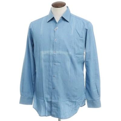 アウトレット オリアン ORIAN インディゴ染 コットン セミワイドカラー シャツ ブルー 42
