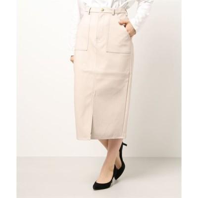 スカート レザーミディ丈台形スカート