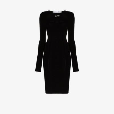 オフホワイト Off-White レディース パーティードレス ワンピース・ドレス seamless stretch knee-length dress black
