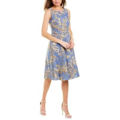 ロンドンタイムス ワンピース トップス レディース London Times Linen-Blend A-Line Dress slate blue