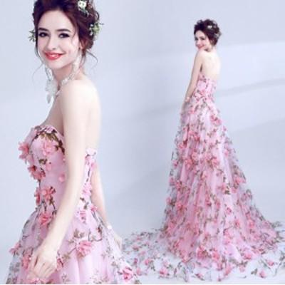 イブニングドレス ウェディングドレス 花柄 プリント ブライズメイド オフショルダー セクシー お呼ばれ 結婚式 パーティードレス
