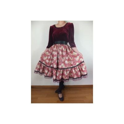 フォークダンス衣装◆裾回り4m裾ジョーゼット2段ティアードスカートスモーキーピンクSK116