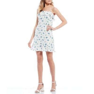 カッパーキー レディース ワンピース トップス Floral Print Ruffle Neckline Dress