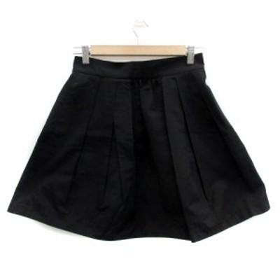 【中古】ジャーナルスタンダード JOURNAL STANDARD スカート フレア ギャザー ミニ丈 無地 38 黒 ブラック レディース