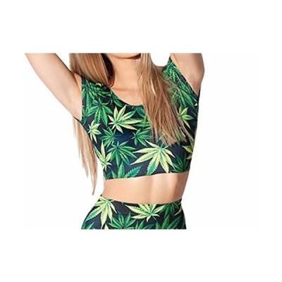 NeonNation Marijuana Weed Print Cap Sleeve Crop Top Shirt (L) Green
