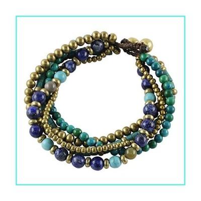 【新品】NOVICA Lapis Lazuli Brass Beaded Torsade Bracelet 'Freedom of Expression in Blue'(並行輸入品)