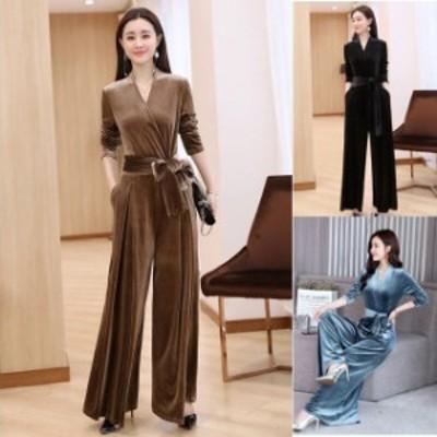 オールインワン レディース パンツスタイル ドレス フォーマル パーティー 結婚式 大きいサイズ 袖あり ワイドパンツ