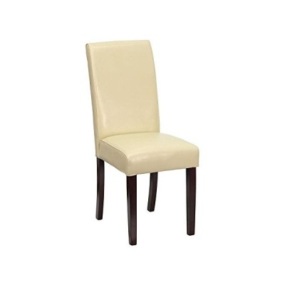 Offex Ivory Leather Upholstered Parsons Chair並行輸入品