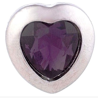 チャーム ブレスレット ハンドメイド Silver Purple Rhinestone Heart Love 20mm Snap Charm For Ginger Snaps Jewelry