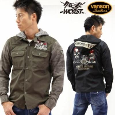 2wayツイルワークシャツ VANSON×CROWS×WORST 武装戦線 コラボ 長袖シャツ デスラビット crv-838[18_aw]