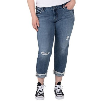 シルバー ジーンズ レディース デニムパンツ ボトムス Plus Size Mid Rise Slim Leg Distressed Rolled Cuff Boyfriend Jean