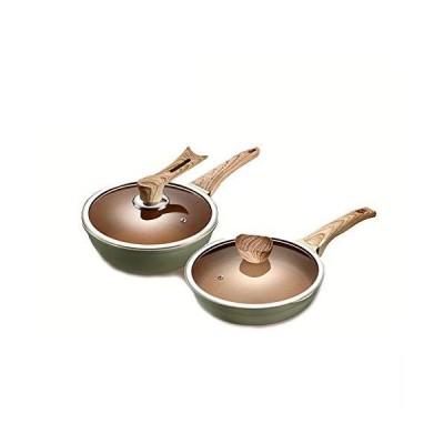 JTJxop Cookware Set, 2 Piece Aluminium Cookware Set, Non Stick Saucepan Set with Lids, with Non-Stick Coating, PFOA & BPA Free, Anti Scaldin