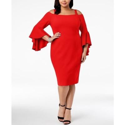アールアンドエムリチャーズ ワンピース トップス レディース Plus Size Off-The-Shoulder Flared-Sleeve Dress Red