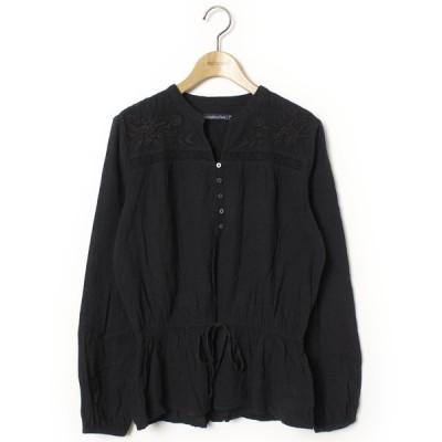 シャツ ブラウス 刺繍長袖ブラウス