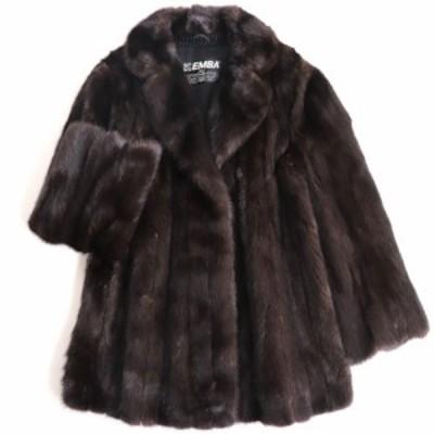 極美品▼EMBA MINK エンバ ミンク 裏地花柄刺繍入り 本毛皮コート ダークブラウン 毛質艶やか・柔らか◎